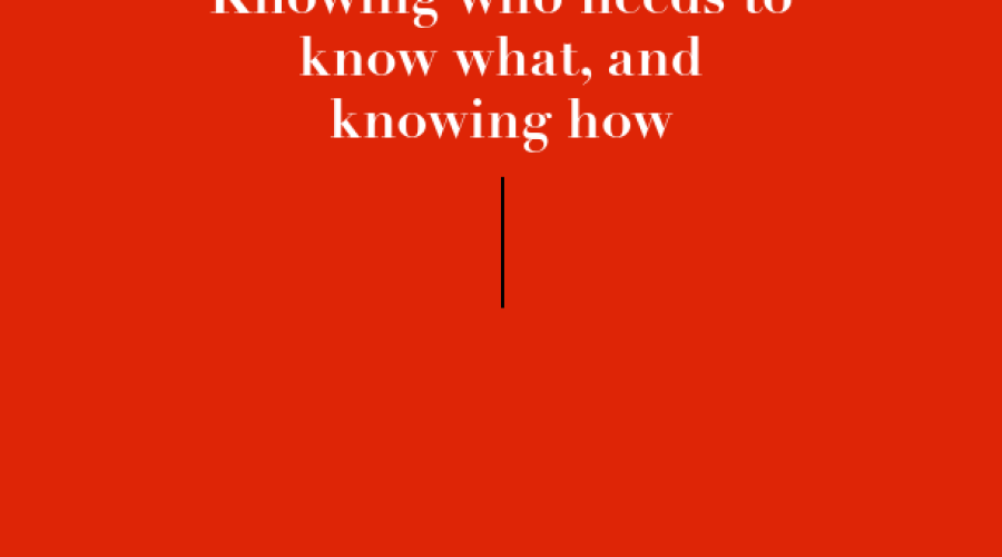 Knowing who needs to know what, and knowing how