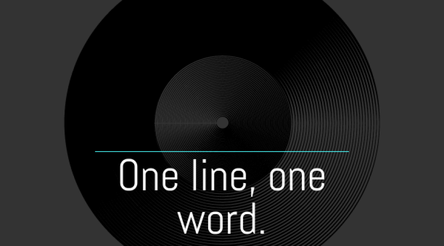 One line, one word